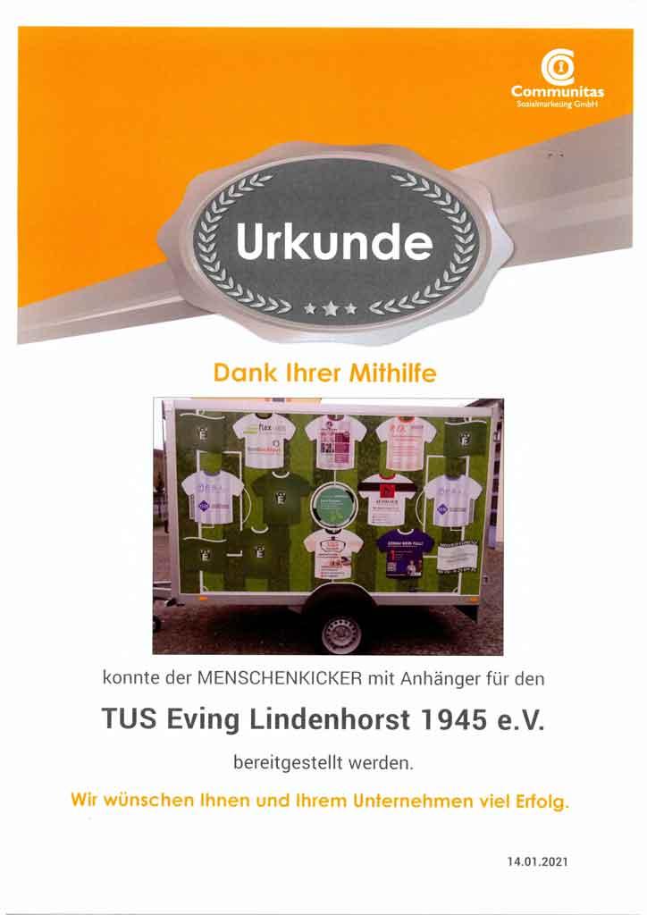 Urkunde TUS Eving Lindenhorst 1945